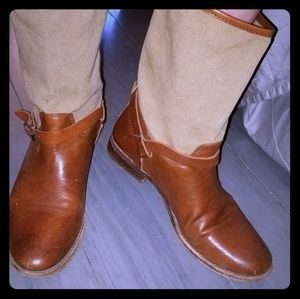 Frye riding boots brown leather tan upper 8.5